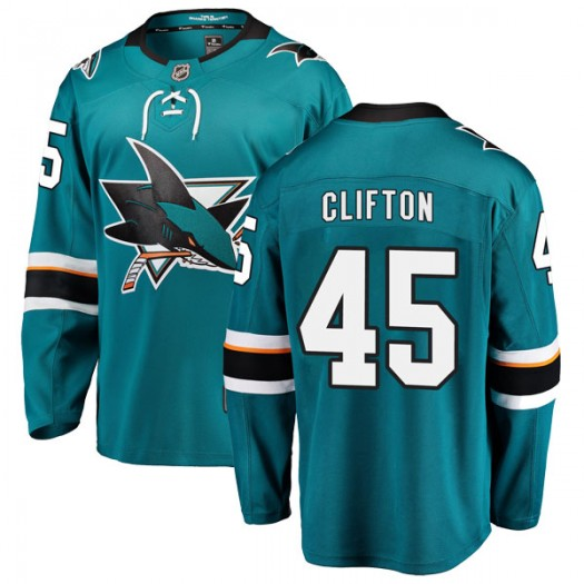 Tim Clifton San Jose Sharks Men's Fanatics Branded Teal Breakaway Home Jersey