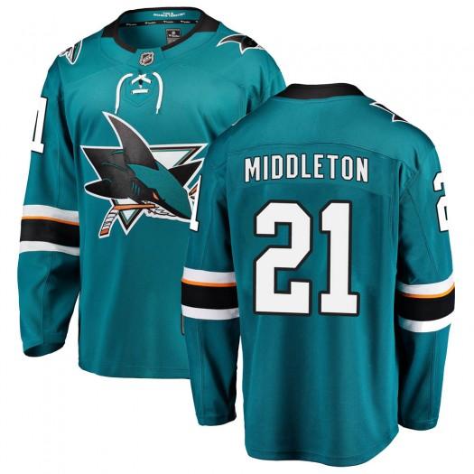 Jacob Middleton San Jose Sharks Men's Fanatics Branded Teal Breakaway Home Jersey