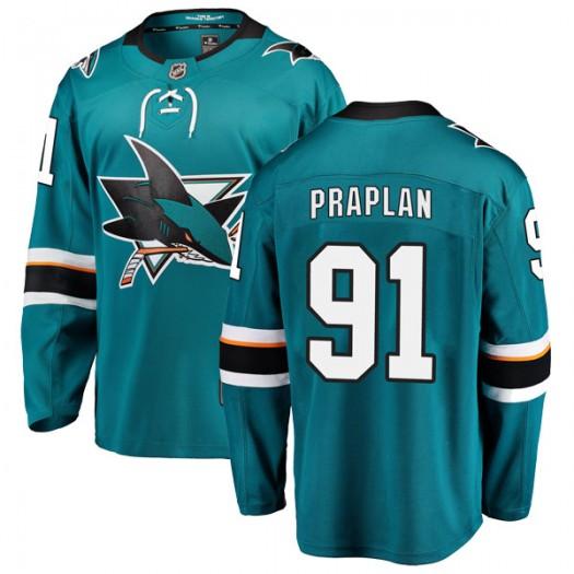 Vincent Praplan San Jose Sharks Men's Fanatics Branded Teal Breakaway Home Jersey