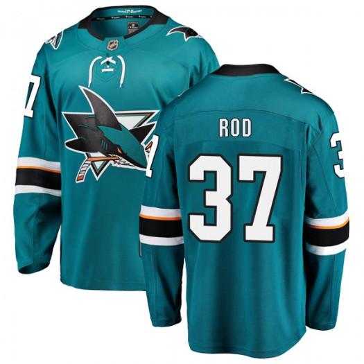 Noah Rod San Jose Sharks Men's Fanatics Branded Teal Breakaway Home Jersey