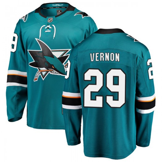 Mike Vernon San Jose Sharks Men's Fanatics Branded Teal Breakaway Home Jersey