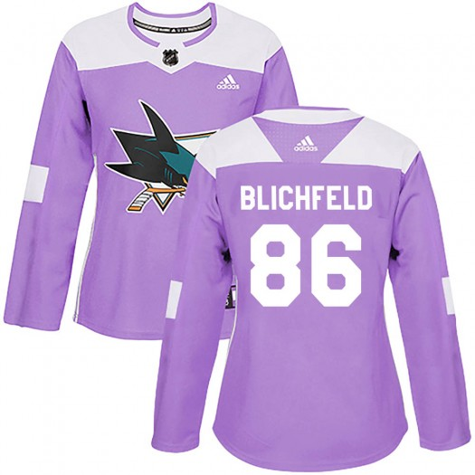 Joachim Blichfeld San Jose Sharks Women's Adidas Authentic Purple Hockey Fights Cancer Jersey