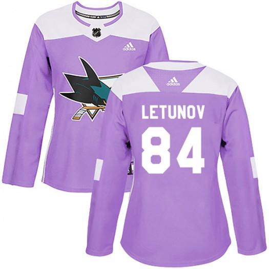 Maxim Letunov San Jose Sharks Women's Adidas Authentic Purple Hockey Fights Cancer Jersey
