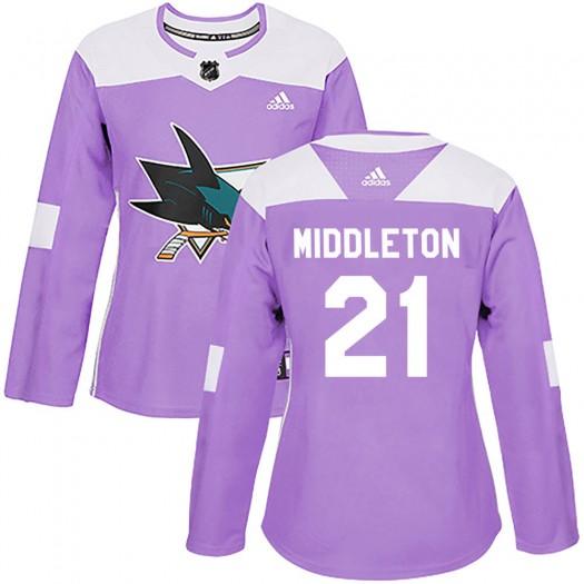 Jacob Middleton San Jose Sharks Women's Adidas Authentic Purple Hockey Fights Cancer Jersey
