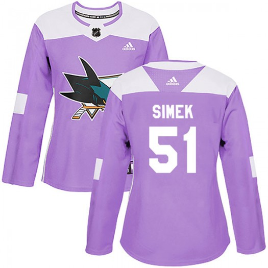 Radim Simek San Jose Sharks Women's Adidas Authentic Purple Hockey Fights Cancer Jersey