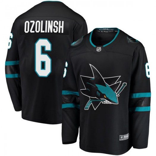 Sandis Ozolinsh San Jose Sharks Men's Fanatics Branded Black Breakaway Alternate Jersey