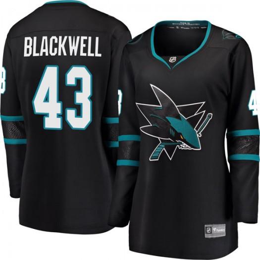 Colin Blackwell San Jose Sharks Women's Fanatics Branded Black Breakaway Alternate Jersey
