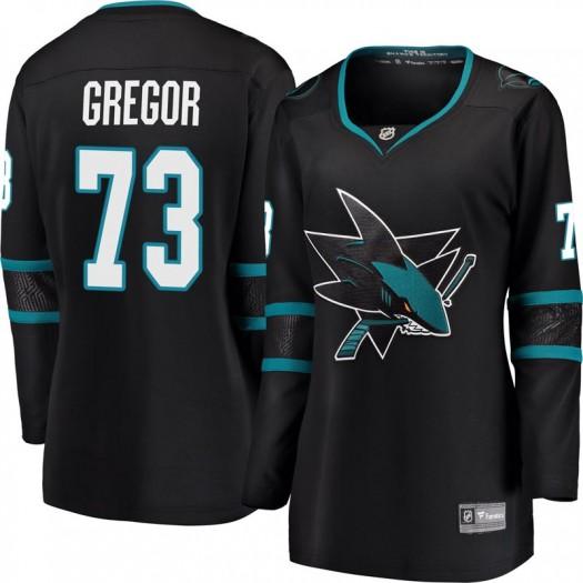 Noah Gregor San Jose Sharks Women's Fanatics Branded Black Breakaway Alternate Jersey
