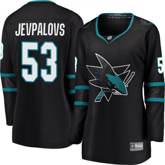 Nikita Jevpalovs San Jose Sharks Women's Fanatics Branded Black Breakaway Alternate Jersey