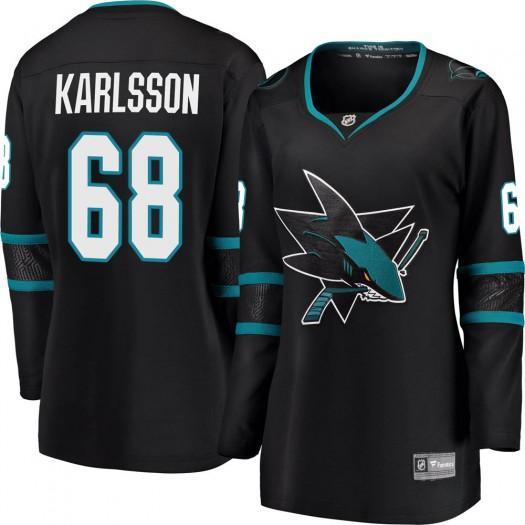 Melker Karlsson San Jose Sharks Women's Fanatics Branded Black Breakaway Alternate Jersey