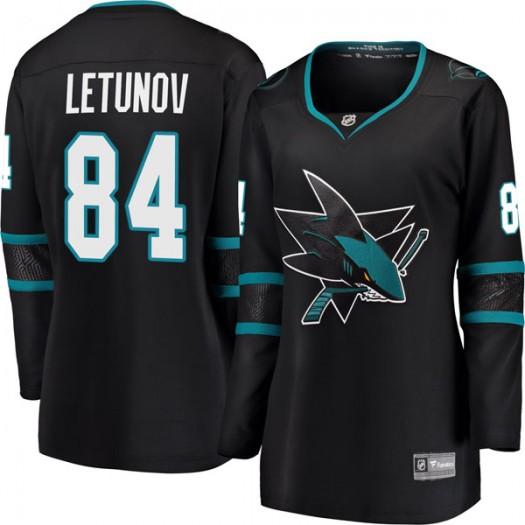 Maxim Letunov San Jose Sharks Women's Fanatics Branded Black Breakaway Alternate Jersey