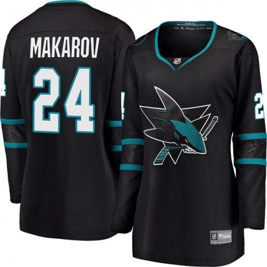 Sergei Makarov San Jose Sharks Women's Fanatics Branded Black Breakaway Alternate Jersey