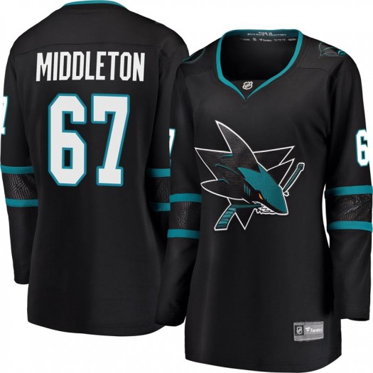 Jacob Middleton San Jose Sharks Women's Fanatics Branded Black Breakaway Alternate Jersey