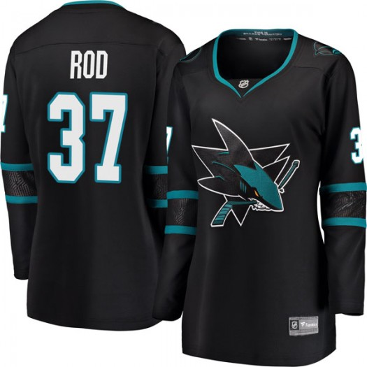 Noah Rod San Jose Sharks Women's Fanatics Branded Black Breakaway Alternate Jersey
