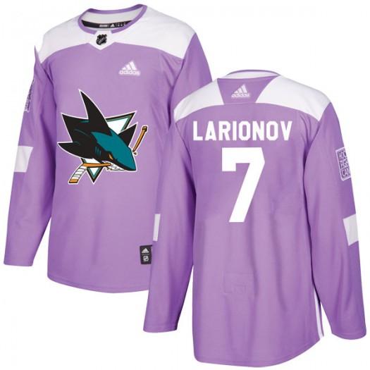Igor Larionov San Jose Sharks Men's Adidas Authentic Purple Hockey Fights Cancer Jersey
