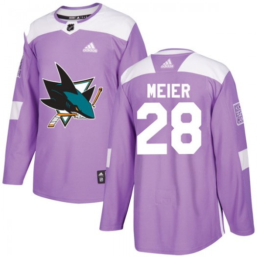 Timo Meier San Jose Sharks Men's Adidas Authentic Purple Hockey Fights Cancer Jersey