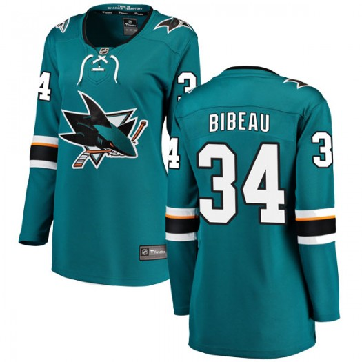 Antoine Bibeau San Jose Sharks Women's Fanatics Branded Teal Breakaway Home Jersey