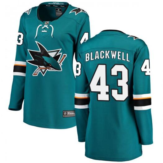 Colin Blackwell San Jose Sharks Women's Fanatics Branded Black Breakaway Teal Home Jersey