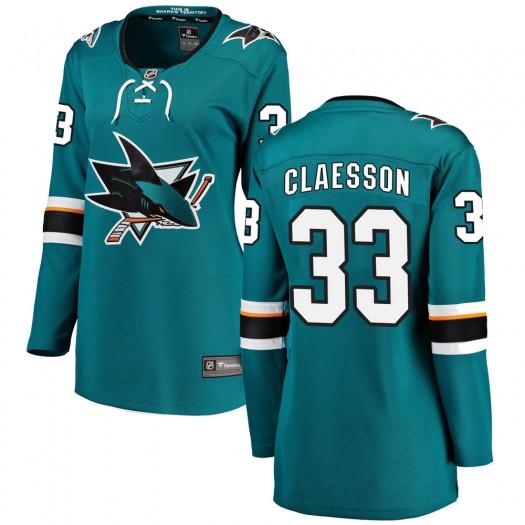 Fredrik Claesson San Jose Sharks Women's Fanatics Branded Teal Breakaway Home Jersey