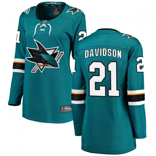 Brandon Davidson San Jose Sharks Women's Fanatics Branded Teal ized Breakaway Home Jersey