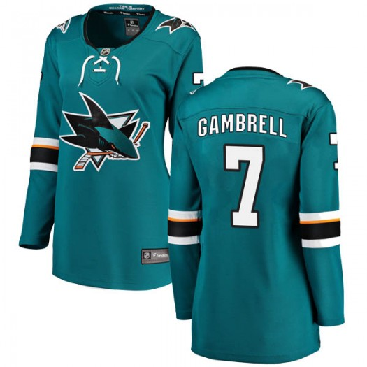 Dylan Gambrell San Jose Sharks Women's Fanatics Branded Teal Breakaway Home Jersey