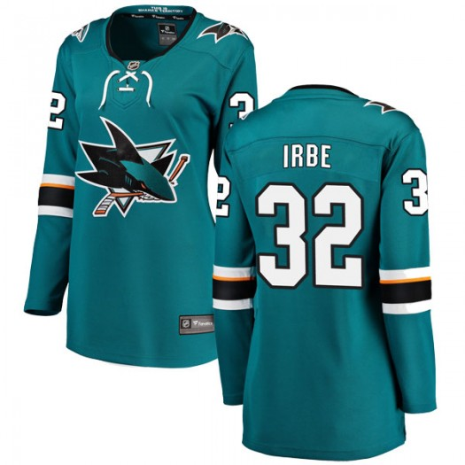 Arturs Irbe San Jose Sharks Women's Fanatics Branded Teal Breakaway Home Jersey