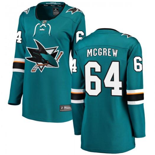 Jacob McGrew San Jose Sharks Women's Fanatics Branded Teal Breakaway Home Jersey