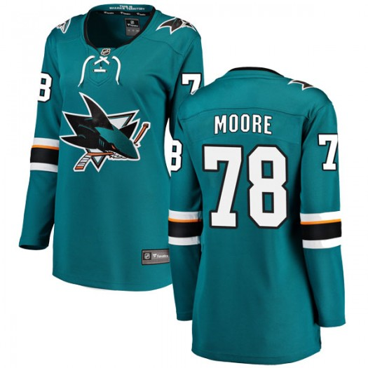 Bryan Moore San Jose Sharks Women's Fanatics Branded Teal Breakaway Home Jersey