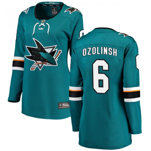 Sandis Ozolinsh San Jose Sharks Women's Fanatics Branded Teal Breakaway Home Jersey