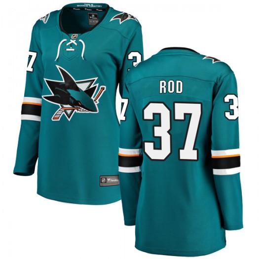 Noah Rod San Jose Sharks Women's Fanatics Branded Teal Breakaway Home Jersey