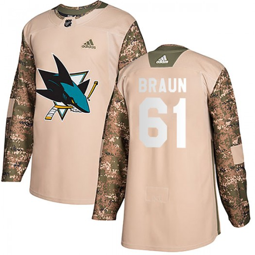 Justin Braun San Jose Sharks Men's Adidas Authentic Camo Veterans Day Practice Jersey
