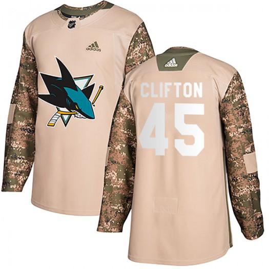 Tim Clifton San Jose Sharks Men's Adidas Authentic Camo Veterans Day Practice Jersey