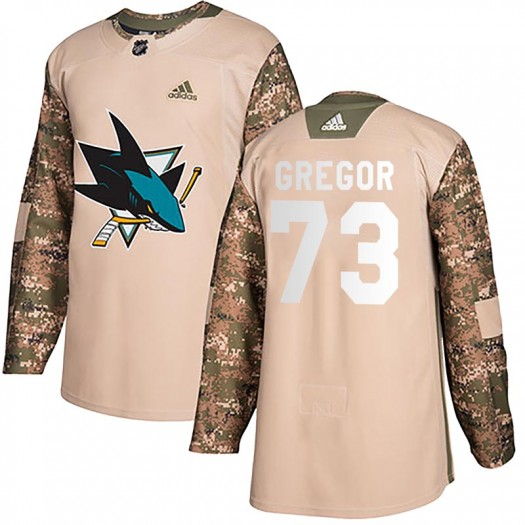 Noah Gregor San Jose Sharks Men's Adidas Authentic Camo Veterans Day Practice Jersey