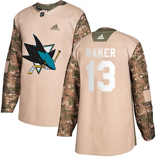 Jamie Baker San Jose Sharks Youth Adidas Authentic Camo Veterans Day Practice Jersey