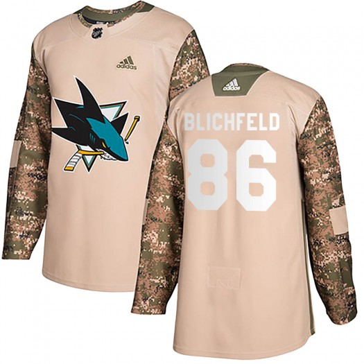 Joachim Blichfeld San Jose Sharks Youth Adidas Authentic Camo Veterans Day Practice Jersey
