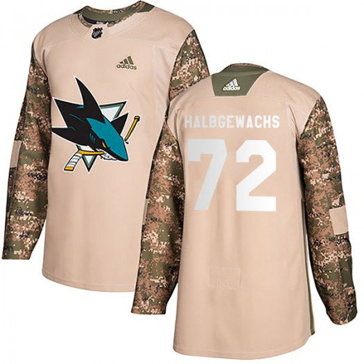 Jayden Halbgewachs San Jose Sharks Youth Adidas Authentic Camo Veterans Day Practice Jersey