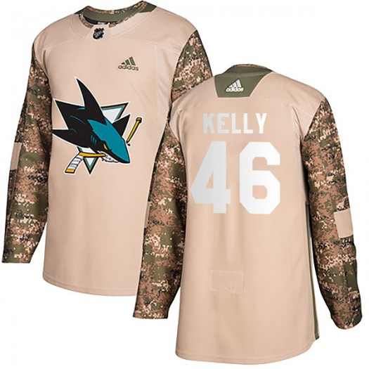 Dan Kelly San Jose Sharks Youth Adidas Authentic Camo Veterans Day Practice Jersey