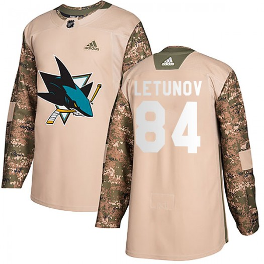 Maxim Letunov San Jose Sharks Youth Adidas Authentic Camo Veterans Day Practice Jersey