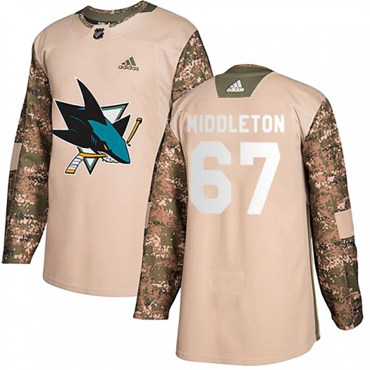 Jacob Middleton San Jose Sharks Youth Adidas Authentic Camo Veterans Day Practice Jersey