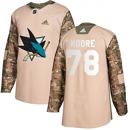 Bryan Moore San Jose Sharks Youth Adidas Authentic Camo Veterans Day Practice Jersey