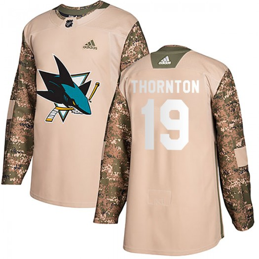 Joe Thornton San Jose Sharks Youth Adidas Authentic Camo Veterans Day Practice Jersey