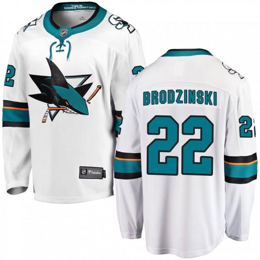 Jonny Brodzinski San Jose Sharks Youth Fanatics Branded White Breakaway Away Jersey