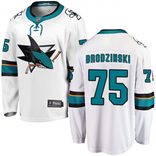 Michael Brodzinski San Jose Sharks Youth Fanatics Branded White Breakaway Away Jersey