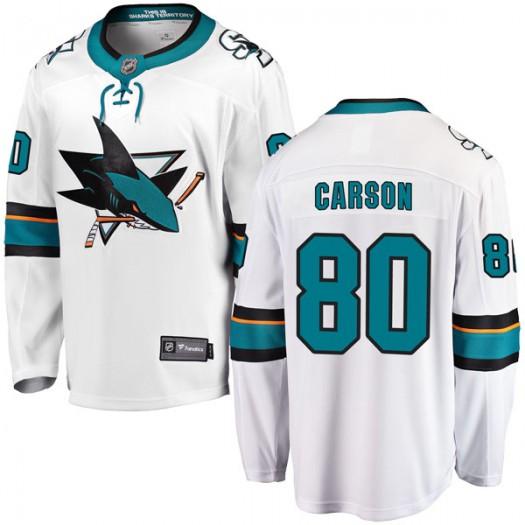 Macauley Carson San Jose Sharks Youth Fanatics Branded White Breakaway Away Jersey