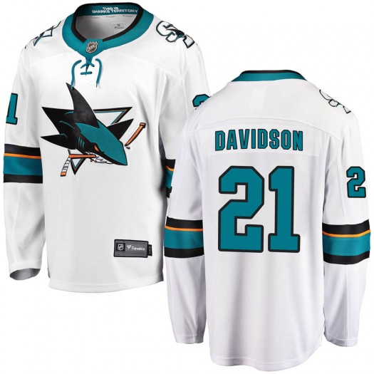 Brandon Davidson San Jose Sharks Youth Fanatics Branded White ized Breakaway Away Jersey