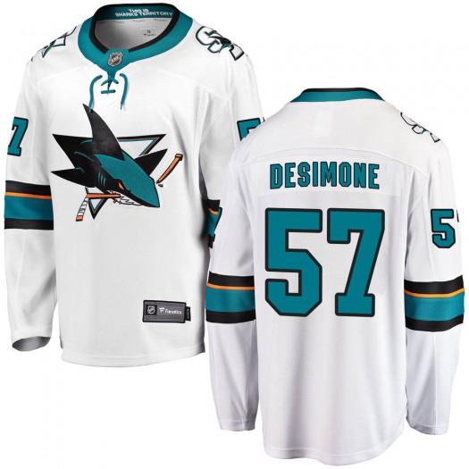 Nick DeSimone San Jose Sharks Youth Fanatics Branded White ized Breakaway Away Jersey