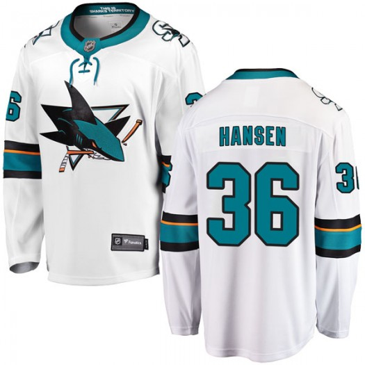 Jannik Hansen San Jose Sharks Youth Fanatics Branded White Breakaway Away Jersey