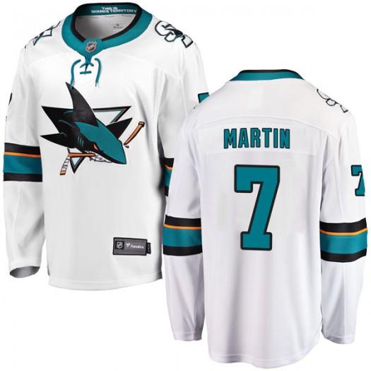Paul Martin San Jose Sharks Youth Fanatics Branded White Breakaway Away Jersey