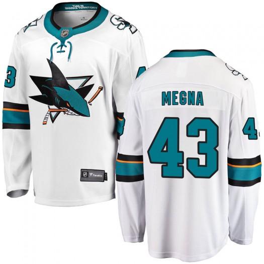 Jaycob Megna San Jose Sharks Youth Fanatics Branded White Breakaway Away Jersey