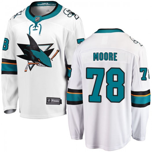 Bryan Moore San Jose Sharks Youth Fanatics Branded White Breakaway Away Jersey
